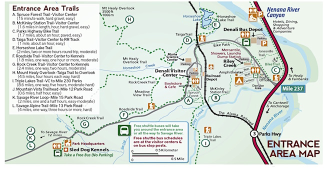 Entrance Map Of Denali National Park